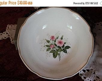 End Of Summer SALE Vintage White Porcelain Serving Bowl with Pink Rose Center