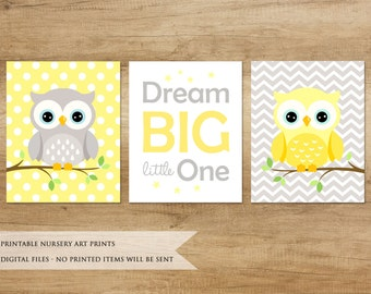 Nursery Print. Owl Print. Nursery Printable. Nursery Decor. Nursery Animals. Baby Boy Nursery Decor. Yellow Nursery Art
