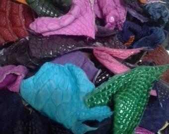 Crocodile leather scrap 250g mixed
