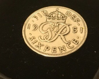 65th birthday gift 1952 Lucky Sixpence coin