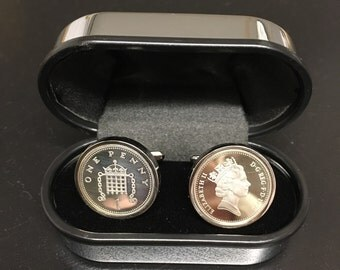 21st birthday 1996 penny cufflinks - 925 silver proof one penny coins