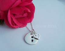 Semicolon Necklace with Heart Charm-Hand Stamped Sterling Silver-Suicide Awareness-Depression-Self Harm Awareness-Addiction-Charity Donation