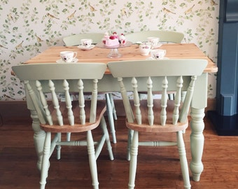 Pine Table And Chairs, 4ft Dining Kitchen Table and Four Painted Farmhouse Cottage Chairs - SOURCED TO ORDER - Painted Furniture.