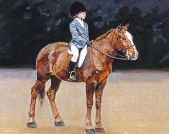 "Original Oil Painting 14""x 14""(framed) Equine Equestrian Horse Art pony child ridercontemporary impressionist"