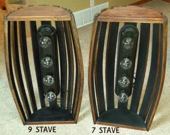 whiskey barrel pool table bar billiards hanging light fixture rustic bourbon western oak wood staves PLAIN VERSION