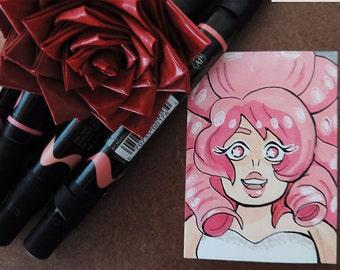Rose Quartz ACEO OOAK Artist Trading Card