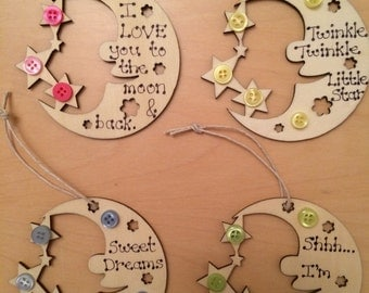 Moon and Stars Wooden Hanging - I Love You to the Moon and Back, Twinkle Twinkle Little Star, Sweet Dreams, Reach for the Stars