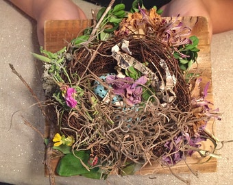 Country rustic colorful unique style ring bearer nest floral
