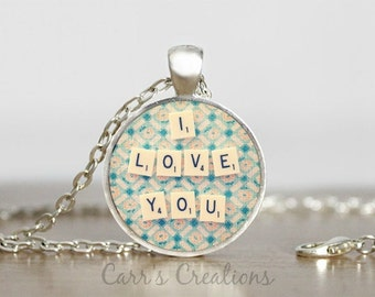 SALE!!! I love you glass pendant necklace