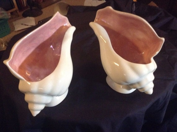 Pair Vintage Ceramic Pink And White Conch Shell Planters Made