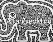Original Zentangle Baby Elephant Ink Drawing, Instant Digital Download / Printable Adult Coloring Page