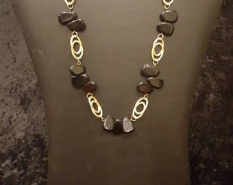 Necklace with Black stones and Gold detail