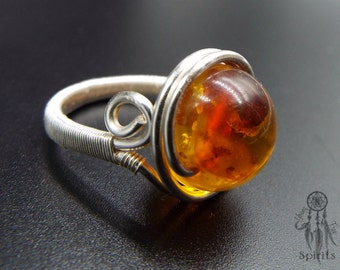 Amber Ring/Adjustable 925 Sterling Silver Ring/Gold Plated Wire/Raw Gemstone/Crystal Healing/Boho/Bohemian/Hippie/Gift idea for her/Nature