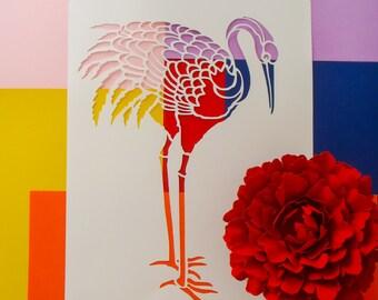 Chinese Crane - Paper Cut - Stencil - A4