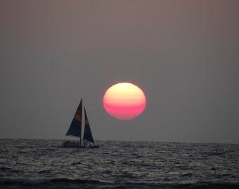 Sailing the Sunset Over Waikiki