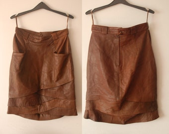 vintage 80's layered brown leather skirt M UK10