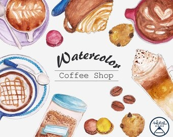 Hand drawn Coffee Watercolor Clipart Set commercial use, instant download