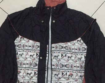 20% sale Vtg 90s Big size abstract ancient pattern sweater windbreaker button zipper