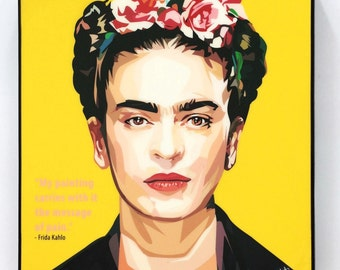 Frida Kahlo Wall Art Decals Quotes Inspirational Motivational Artist Painter Glossy Acrylic Canvas Prints Framed Ready to hang