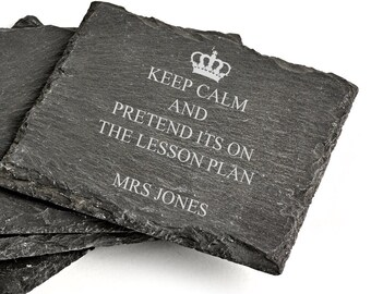 Personalised Teacher Keep Calm & Pretend it's on the Lesson Plan Teaching Assistant Slate Coaster  Gift Present Thank You School