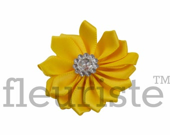 YELLOW Ribbon Flower With rhinestone center, Satin flower, Fabric rose, Rolled Rosette, Wholesale Flower, Fabric Flower, Satin Flower, 3pc
