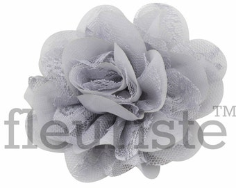 "GRAY Lace Flower, 3.75"" Flower, Wholesale Flower, Fabric Flower, Headband Flower, Flower Embellishment,  Diy Flower, DIY chiffon flower"