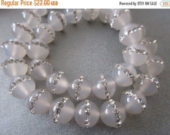 ON SALE Cloud Agate w/ Rhinestone 10mm Round Beads 39 pcs