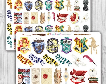Harry Potter Objects Stickers, Kawaii, Cute Stickers, Planner Stickers, Pretty,  Erin Condren, ECLP, House Sigil, Hed