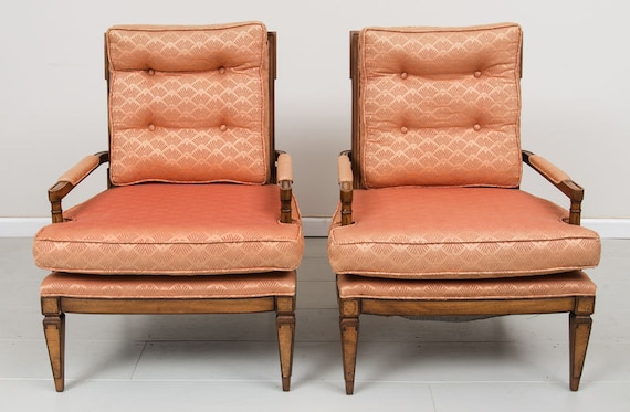 Mid-Century Arm chairs with peach Upholstery