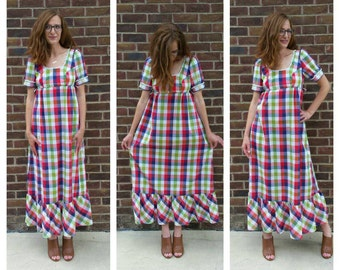 60s Maxi Dress Vintage Maxi Dress Festival Dress Boho Dress Hippie Dress Medium Vintage Dress Long Vintage Dress 60s Dress M SHIPS FREE!