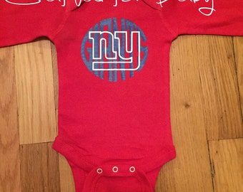 New York Giants Themed Red Onesie Bodysuit