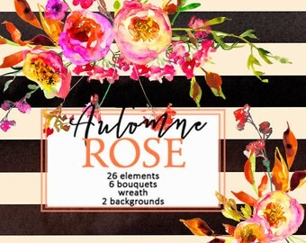 Peonies Roses Floral Clip Art Watercolor Autumn Wedding PNG Flowers Clipart Bouquets Fall Wreath DIY Invitation Cards