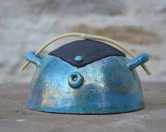 Small tea box raku copper and silver