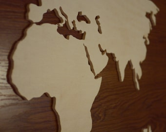 Continents & countries: Your world map made of wood and to measure