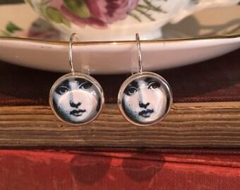 Fornasetti Earrings, Fornasetti drop Earrings, Face image earrings, face, elegant silver plated Earrings