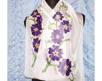 Armenian Handmade Hand Painted Batik Silk Scarf - Forget-Me-Not - Armenian Gift -  FREE SHIPPING WORLDWIDE