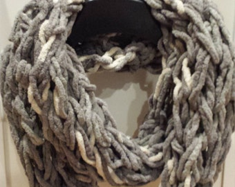 Gray & White Arm Knit Infinity Scarf