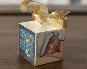 Baby's First Christmas Ornament, Wooden Photo Block Ornament, Personalized Photo Block Ornament, Keepsake Photo Ornament, Wooden Photo Block