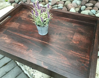 Wooden Tray | Rustic Wooden Serving Tray | Ottoman Tray | Coffee Table Tray | Rustic Home Decor | Tray | Housewarming gift
