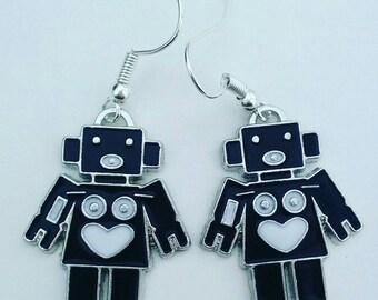 Robot earrings girl robot black and white robot cool robot cute robot earrings girl gift kwerky jewelry robots earrings fun gift