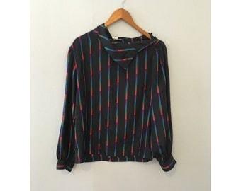 1980s Blouse // Vintage Long Sleeve Blouse