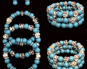 Aqua Blue & Silver Beaded Bracelet and Earring Set