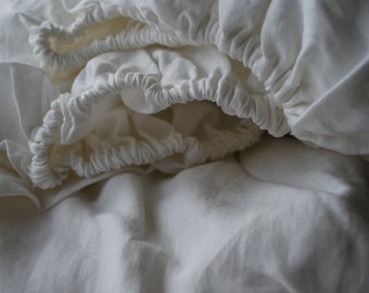 100% Pure Linen Fitted Sheet - White - Natural Stone Washed Bed Sheet