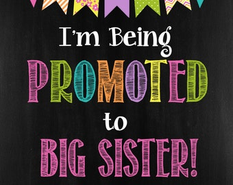 Big Sister/Baby Annoucment/Chalkboard Poster/16x20 Poster/Pregnancy Annoucment/Digital/Printable