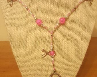 Pink Breast Cancer Ribbon Lanyard