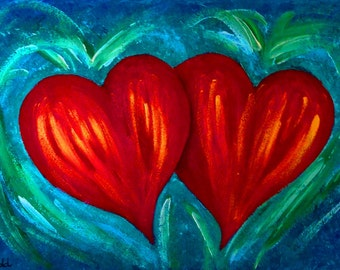 Hearts, quality print from original oil painting, abstract, abstract hearts, love, valentine