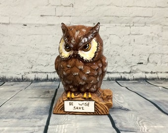 """Vintage Owl Coin Bank """"BE WISE SAVE"""" Decor Bank"""