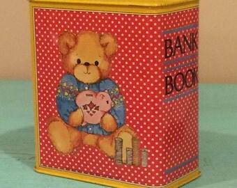 Coin Bank Cash Box Display with Teddy Bear Metal Decor