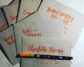 Handlettered envelopes