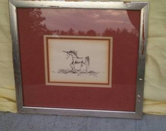 Framed Unicorn Pen And Ink Illustration, Circa 1950's